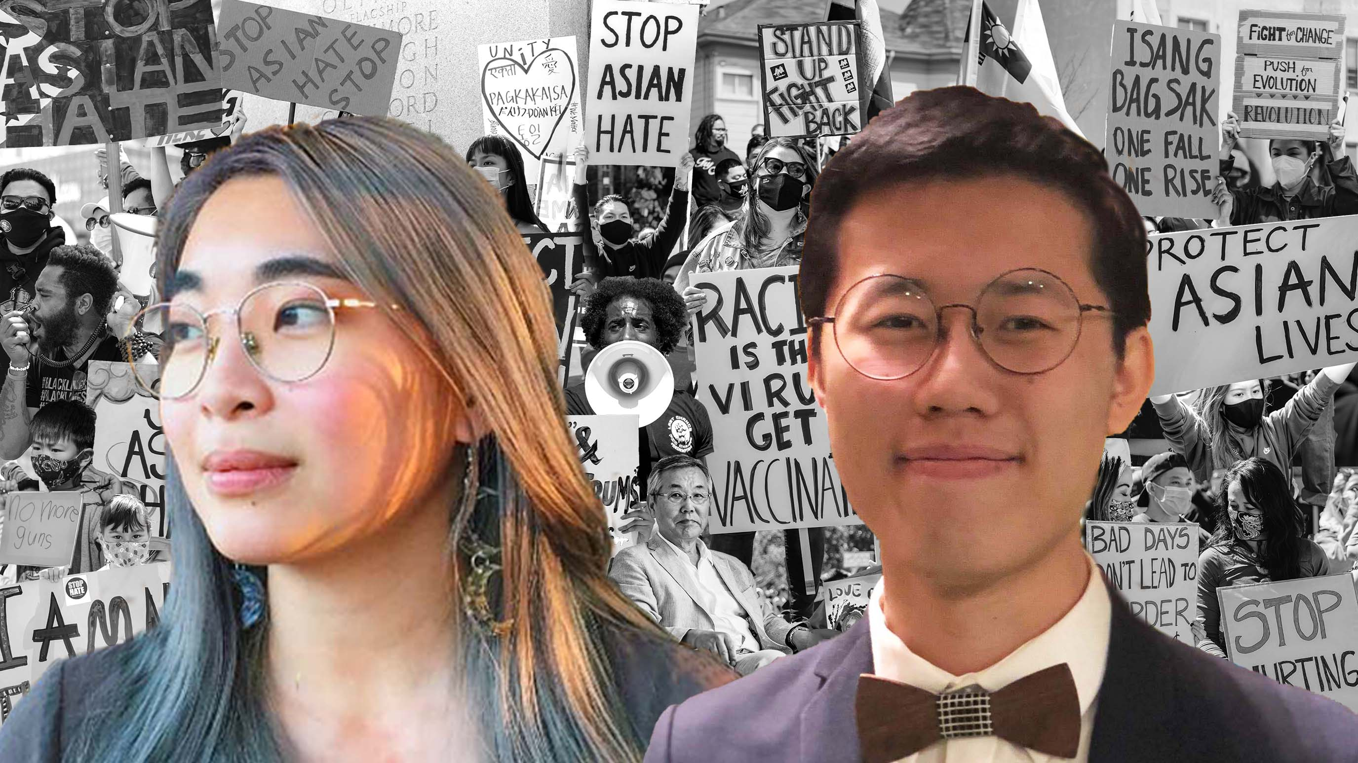 Headshots of Amanda Wan and Patrick Leong layered over a black and white collage of protestors holding signs against anti-Asian racism.